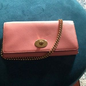 Coach Pink Leather Crossbody Chain Wallet.